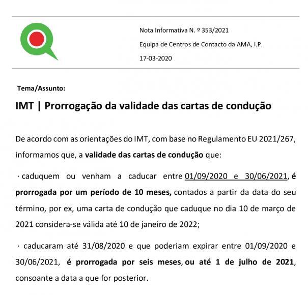 IMT | Prorrogação da validade das cartas de condução